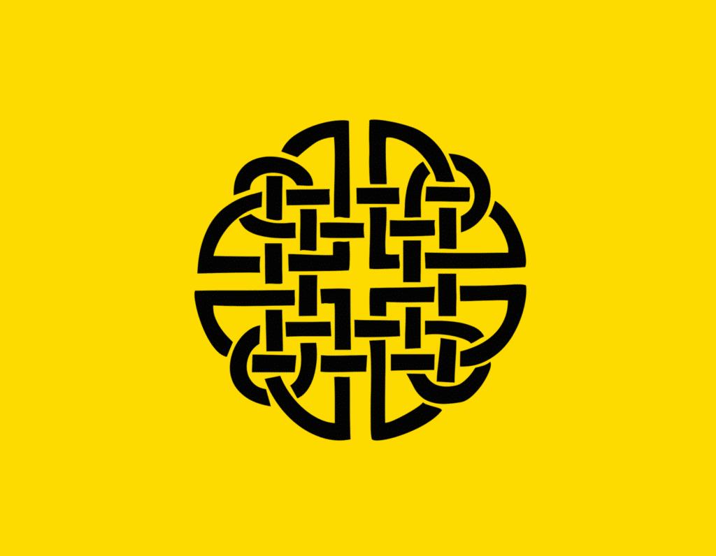Դօրիանի «Տեղի-անտեղի, պատեհ-անպատեհ» բանաստեղծությունը։ Black ornament on a yellow background.