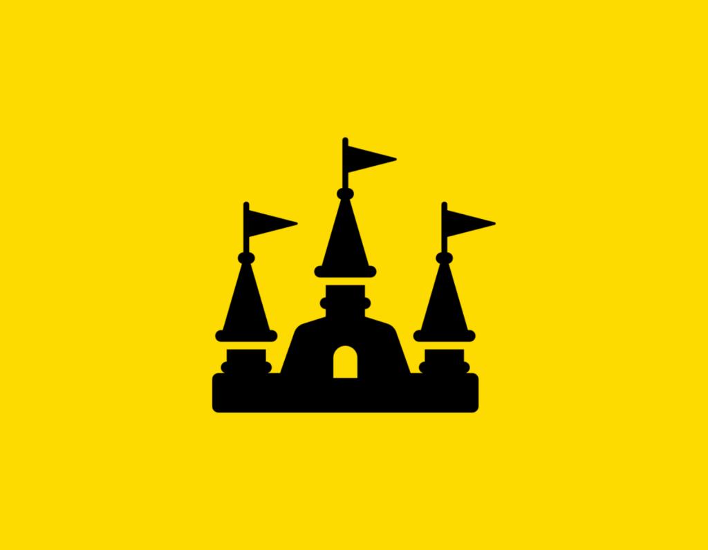 Դօրիանի «Հանդիպում» բանաստեղծությունը։ Black castle on a yellow background.