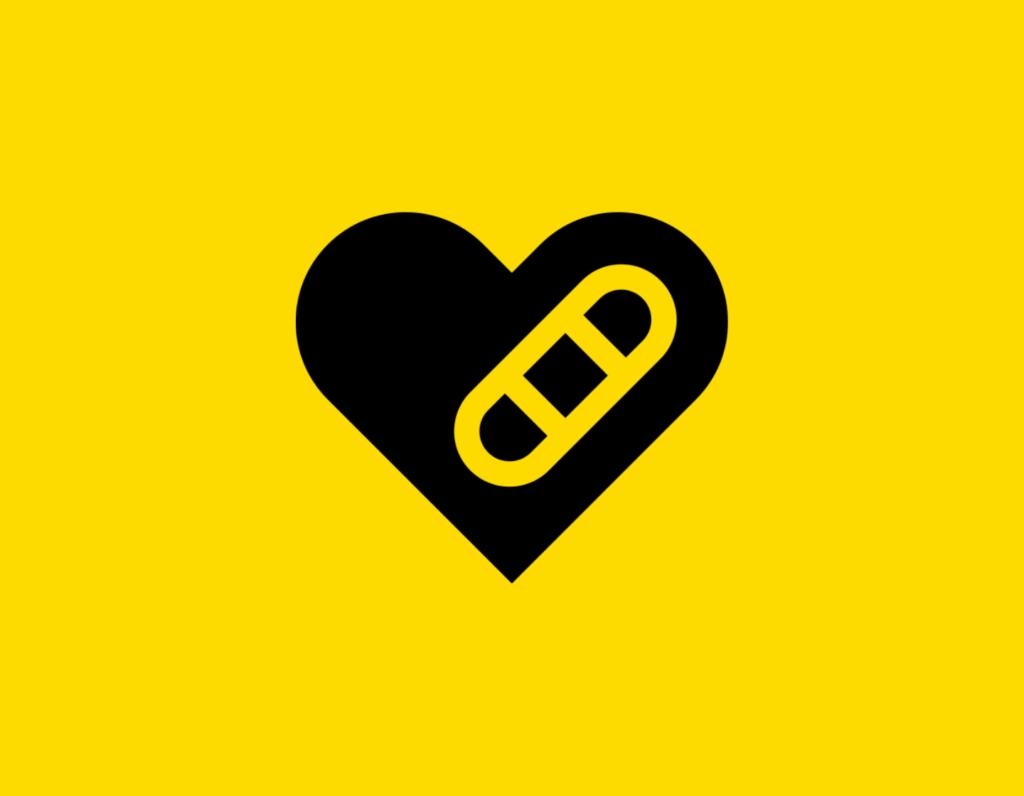 Դօրիանի «Սիրտ անբարեկամ» բանաստեղծությունը։ Black heart on a yellow background.