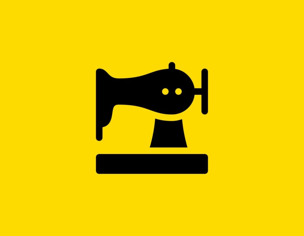 Դօրիանի «Նոր շուլուլած կարեր» բանաստեղծությունը։ Black sewing machine on a yellow background.