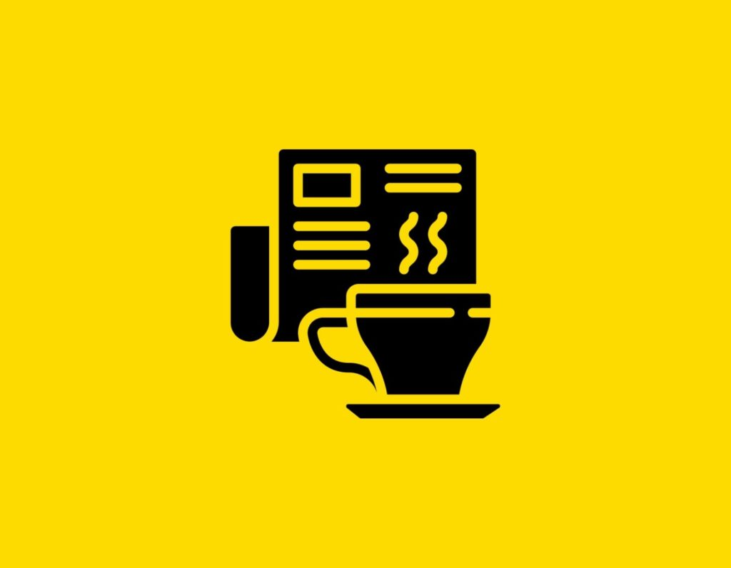 Դօրիանի «Լուրեր» բանաստեղծությունը։ Black cup and newspaper on a yellow background.